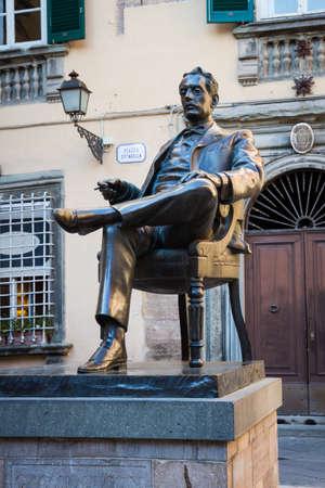 statute: Bronze statute of the italian composer Giacomo Puccini in Lucca, Tuscany, Italy