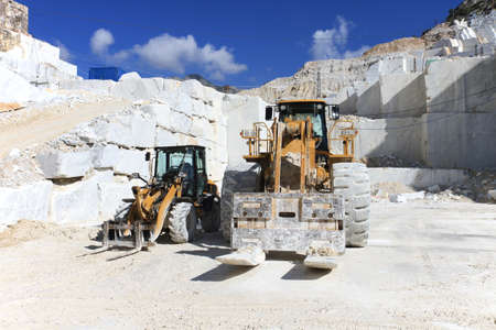 sky scraper: Forklift truck in a white marble quarry of Carrara, Tuscany, Italy