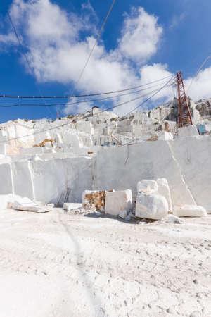 carrara: White marble quarry working site in Carrara, Tuscany, Italy