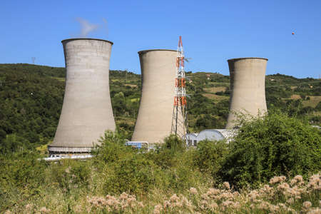 Geothermal power and electricity plant in Larderello in the province of Pisa in Italy