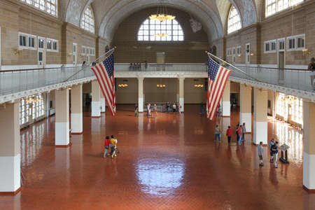 great hall: New York, USA -  May 30, 2015: Great Hall of the Ellis Island National Museum of Immigration. Editorial