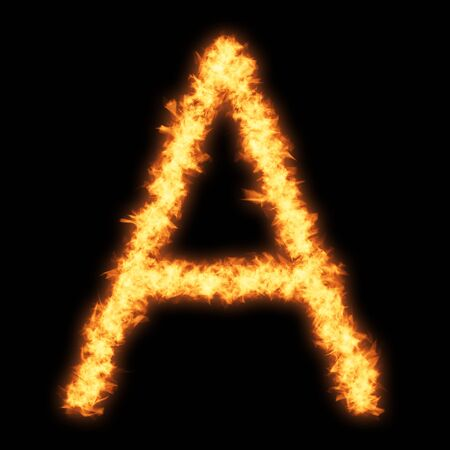 helvetica: Capital letter A with fire on black background- Helvetica font based