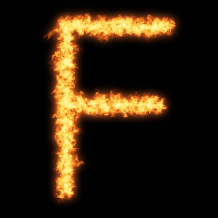 helvetica: Capital letter F with fire on black background- Helvetica font based Stock Photo