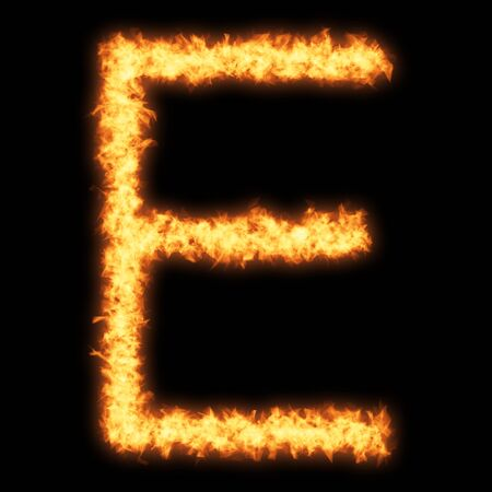 helvetica: Capital letter E with fire on black background- Helvetica font based