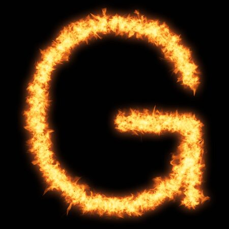 helvetica: Capital letter G with fire on black background- Helvetica font based Stock Photo