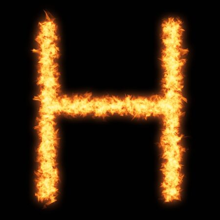 helvetica: Capital letter H with fire on black background- Helvetica font based