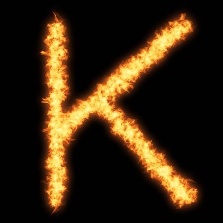 helvetica: Capital letter K with fire on black background- Helvetica font based
