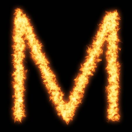 Capital letter M with fire on black background- Helvetica font based