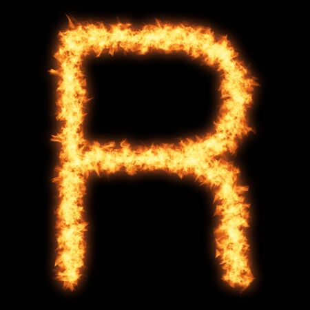 Capital letter R with fire on black background- Helvetica font based Stock Photo