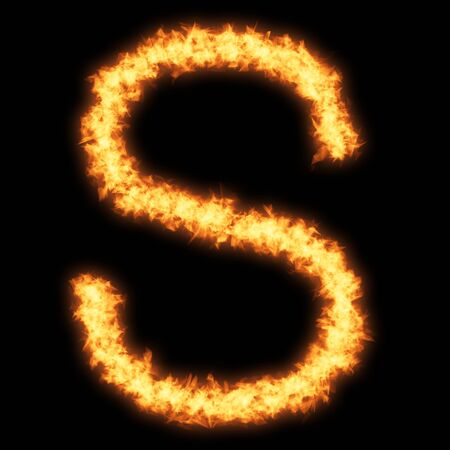 Capital letter S with fire on black background- Helvetica font based