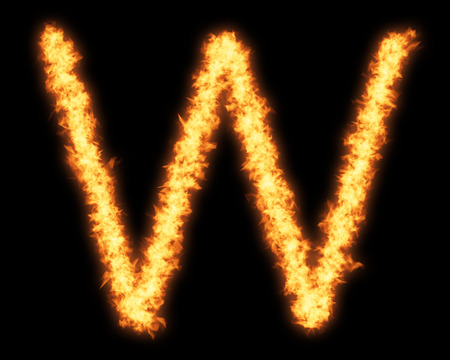single word: Capital letter W with fire on black background- Helvetica font based