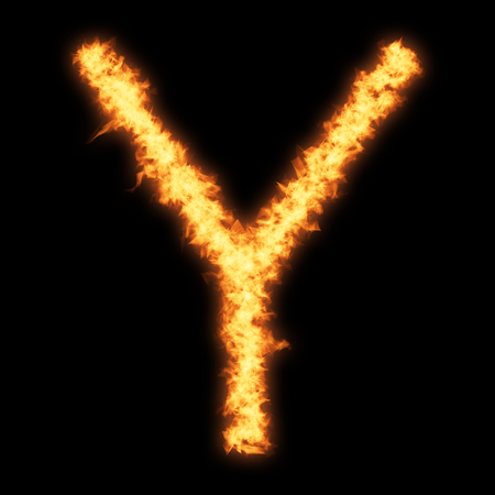 Capital letter Y with fire on black background- Helvetica font based Stock Photo