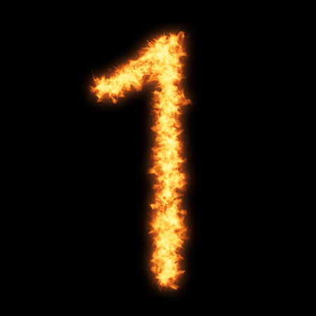 helvetica: Digit number 1 with fire on black background- Helvetica font based Stock Photo