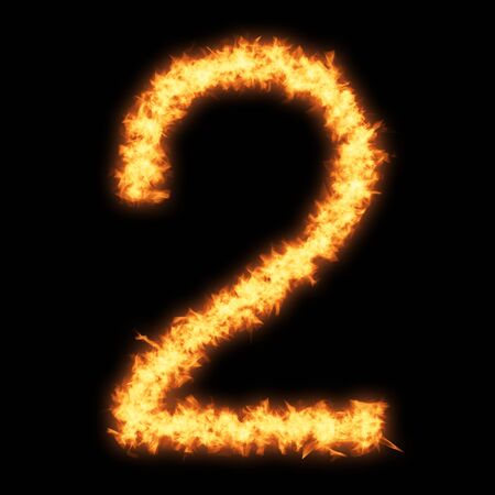 Digit number 2 with fire on black background- Helvetica font based Stock Photo
