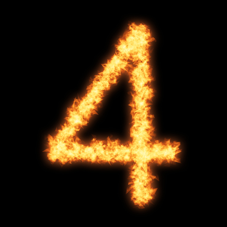 helvetica: Digit number 4 with fire on black background- Helvetica font based Stock Photo