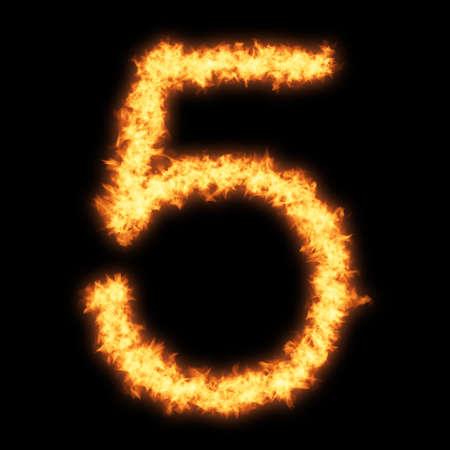 figures: Digit number 5 with fire on black background- Helvetica font based