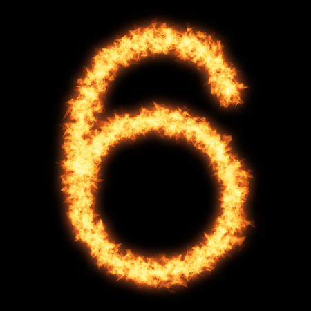 Digit number 6 with fire on black background- Helvetica font based