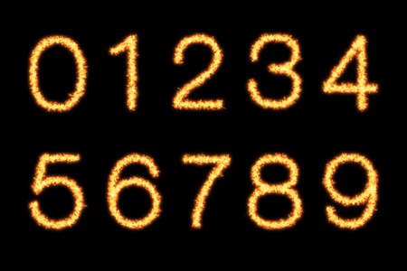 Digit numbers with fire on black background- Helvetica font based