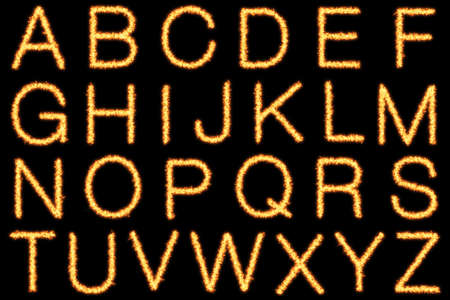 helvetica: Alphabet with capital fire letters on black background- Helvetica font based Stock Photo