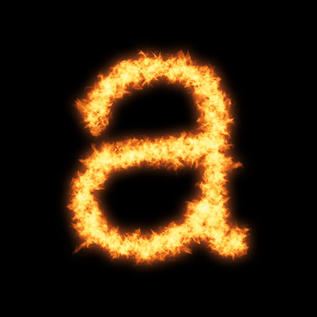 helvetica: Lower case letter a with fire on black background- Helvetica font based