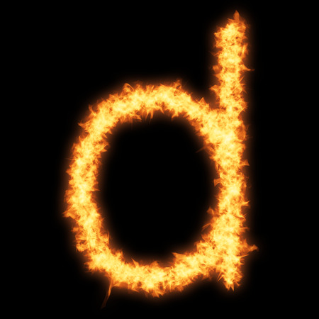 Lower case letter d with fire on black background- Helvetica font based