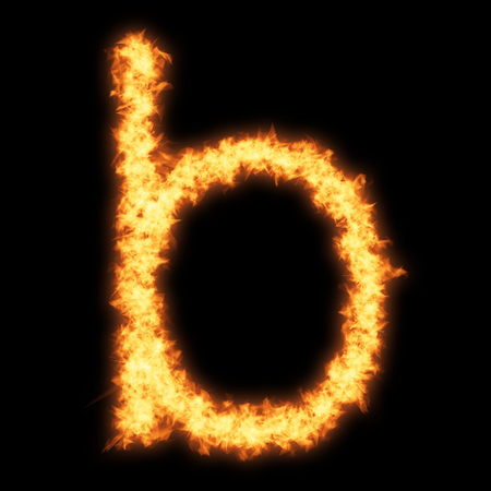 Lower case letter b with fire on black background- Helvetica font based Stock Photo