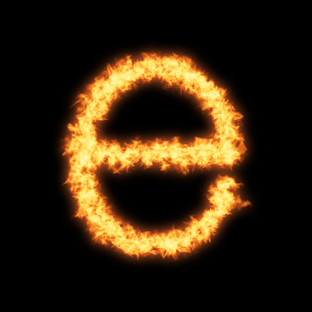 single word: Lower case letter e with fire on black background- Helvetica font based Stock Photo