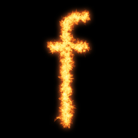 helvetica: Lower case letter f with fire on black background- Helvetica font based Stock Photo