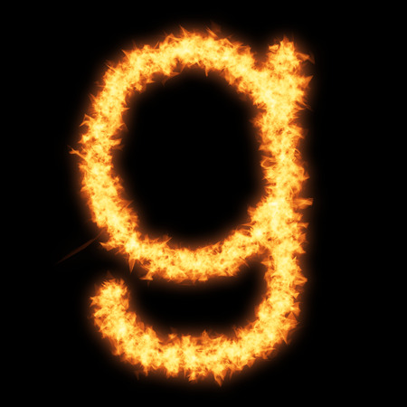 Lower case letter g with fire on black background- Helvetica font based Stock Photo