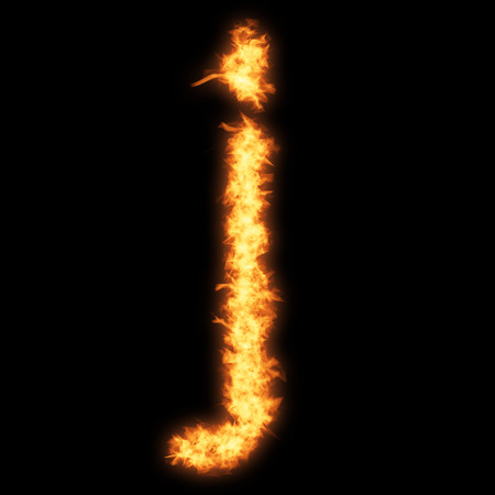 Lower case letter j with fire on black background- Helvetica font based