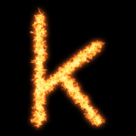 helvetica: Lower case letter k with fire on black background- Helvetica font based Stock Photo