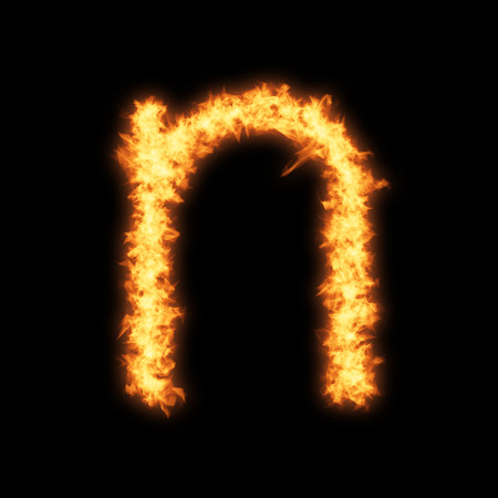 Lower case letter n with fire on black background- Helvetica font based Stock Photo