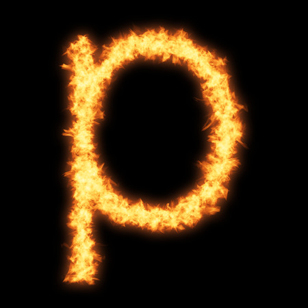 single word: Lower case letter p with fire on black background- Helvetica font based