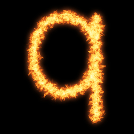 helvetica: Lower case letter q with fire on black background- Helvetica font based