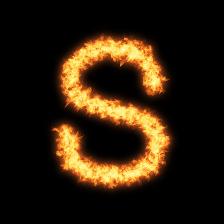 helvetica: Lower case letter s with fire on black background- Helvetica font based