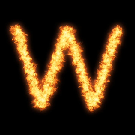 helvetica: Lower case letter w with fire on black background- Helvetica font based