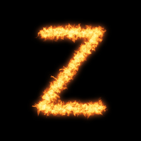 helvetica: Lower case letter z with fire on black background- Helvetica font based
