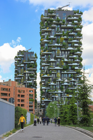 bosco: Milan, Italy - April 18, 2016: Bosco Verticale (Vertical Forest) is a pair of residential towers in the Porta Nuova district of Milan, Italy. Editorial