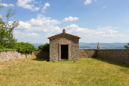 val: Little temple and panoramic view in Montecatini Val di Cecina, Tuscany, Italy