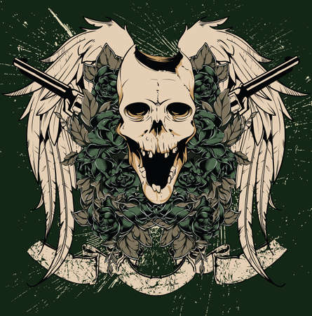 mexican culture: Skull and guns vector Illustration