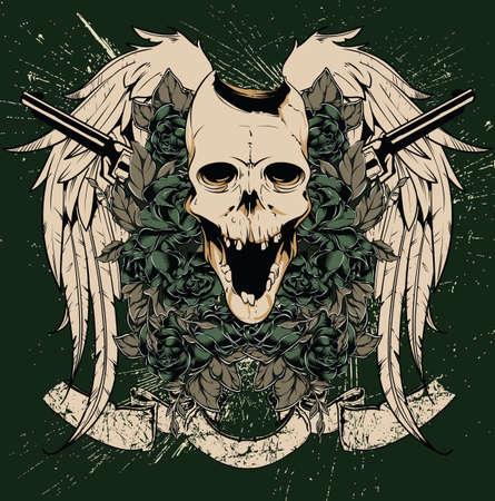 mexican art: Skull and guns vector Illustration