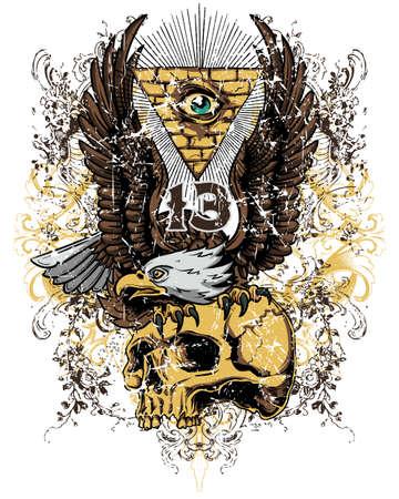 Eagle en schedel Stock Illustratie