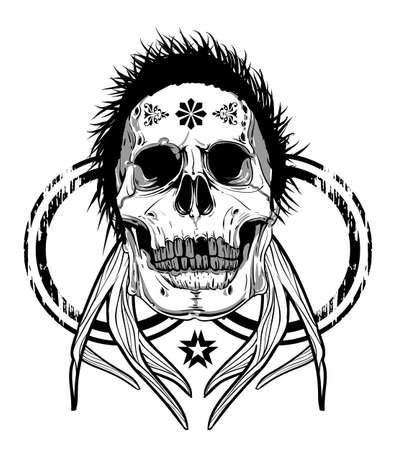 eye sockets: Horned skull  Illustration
