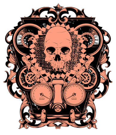 Skull and wheels  Vector