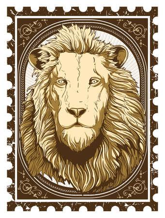 stone lion: Vintage lion  Illustration