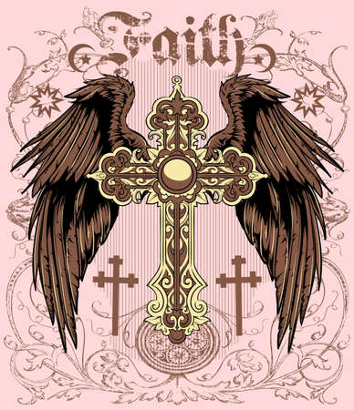cross and wings: Faith Illustration