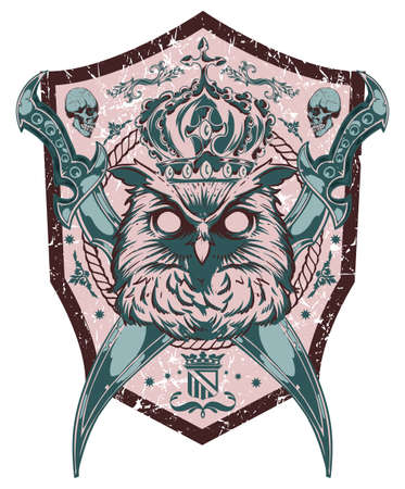tatouage oiseau: Hibou roi Illustration