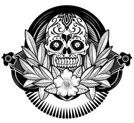 花の頭蓋骨  イラスト・ベクター素材