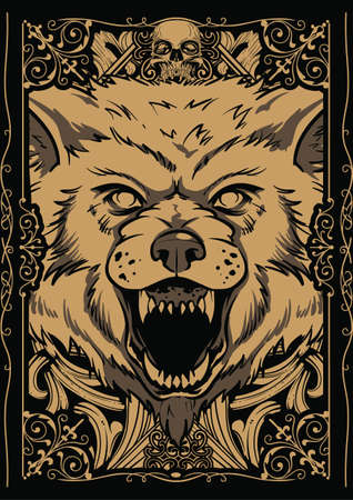 wolf face: Giant wolf illustration
