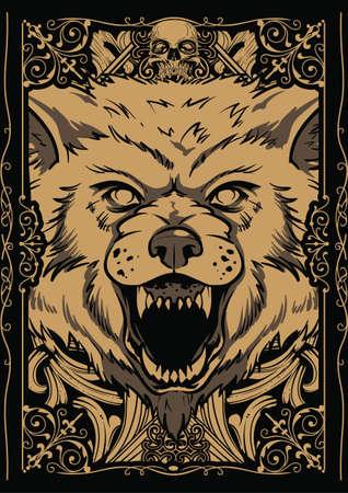scary eyes: Giant wolf illustration